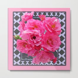 DECORATIVE PINK ROSES GREY LATTICE ART Metal Print