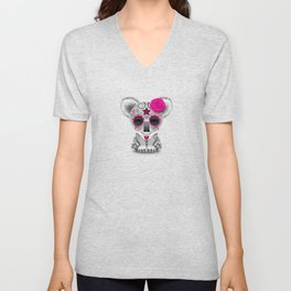 Pink and Blue Day of the Dead Sugar Skull Baby Koala Bear Unisex V-Neck