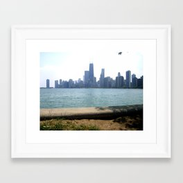 Chicago Across From Lake Michigan Shores Framed Art Print
