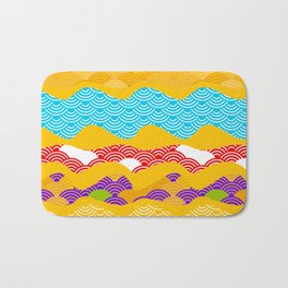 Summer bright pattern  scales simple Nature background with Chinese wave circle pattern Bath Mat