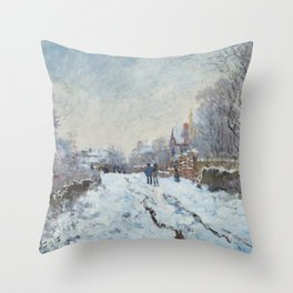 Snow Scene at Argenteuil - Claude Monet Throw Pillow