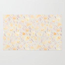 Floral watercolor orange pattern 2 Rug