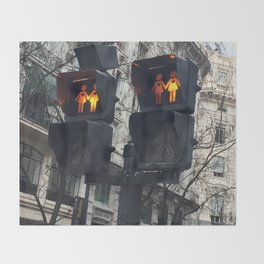 Gay Street Lights (Lesbian Couple) Throw Blanket