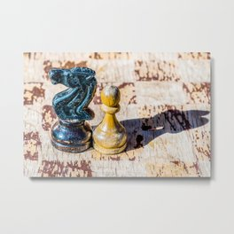 Chess Pawn and Knight - Veterans Metal Print