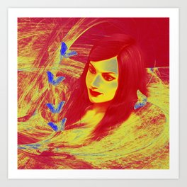 Butterfly wishes in red and yellow Art Print
