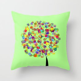 Tree of colors Throw Pillow