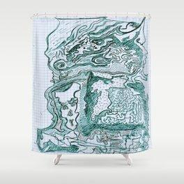 Encre vert Shower Curtain