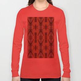 Orange Khaki Dark Caramel Coffee Brown Rustic Native American Indian Mosaic Pattern Long Sleeve T-shirt