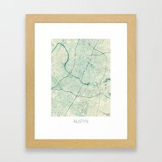 Austin Map Blue Vintage Framed Art Print