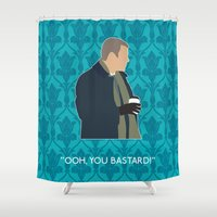 greg guillemin Shower Curtains featuring The Empty Hearse - Greg Lestrade by MacGuffin Designs
