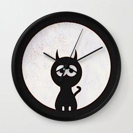 Space Cat - Black White Pop-Art Wall Clock