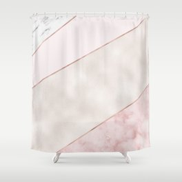 Spliced mixed pink marble and rose gold Shower Curtain