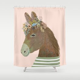 Donkey with flower crown, Kids room decor Shower Curtain