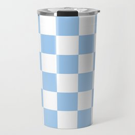 Checkered - White and Baby Blue Travel Mug