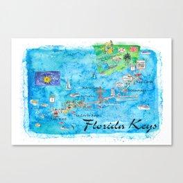 Florida Keys Key West Marathon Key Largo Illustrated Travel Poster Favorite Map Tourist Highlights Canvas Print