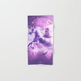 Kitty Cat Riding On Flying Space Galaxy Unicorn Hand & Bath Towel