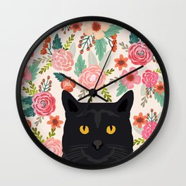 Black Cat florals spring summer animal portrait pet friendly cat lady gifts for her or him cute cats Wall Clock
