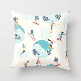 Ski pattern Throw Pillow