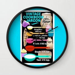 Colorful Vintage Cookbook Jargon Teaspoons Measurements // Kitchen Decor Wall Clock