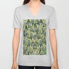 massed wattle blooms on textured background Unisex V-Neck