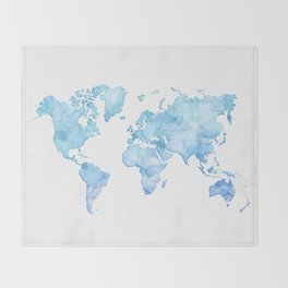 Light blue watercolor world map Throw Blanket