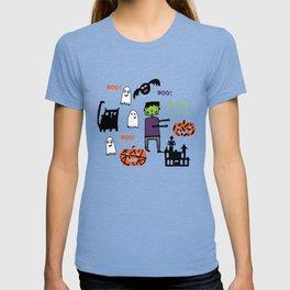 Cute Frankenstein and friends teal #halloween T-shirt