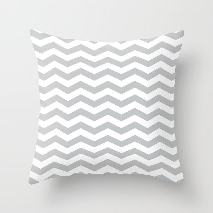 Light Grey Chevron Pattern Throw Pillow