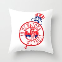 "yankees Throw Pillows featuring ""Subway Series"" Yankees by InNYweTrust"