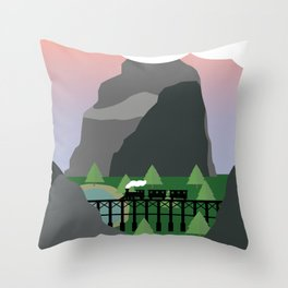Train in valley Throw Pillow