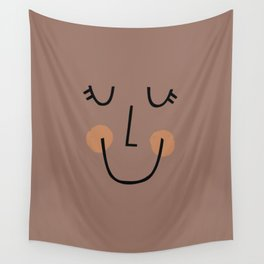 Winky Smiley Face in Brown Wall Tapestry
