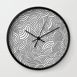 Black and white hand drawn pattern Wall Clock