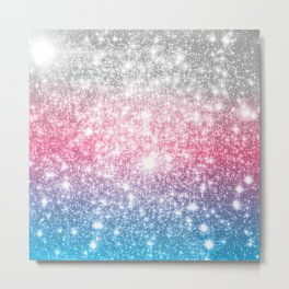 Galaxy Sparkle Stars Cotton Candy Metal Print