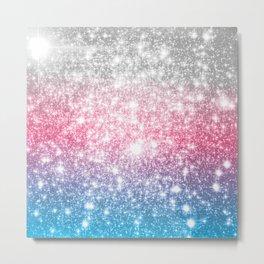 Galaxy Sparkle Stars Cotton Candy Metal Print