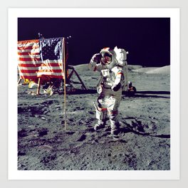 The Moon Landing - Planting the American Flag Art Print
