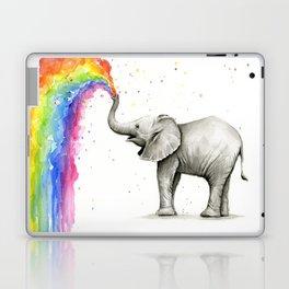 Baby Elephant Spraying Rainbow Laptop & iPad Skin