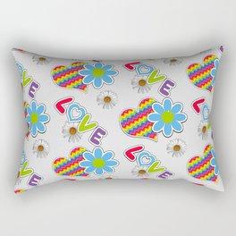 Hippie Heart Rainbow Print in Gray Rectangular Pillow
