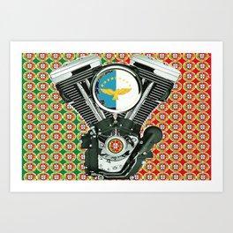 Portuguese Flag Biker Collage Art Print