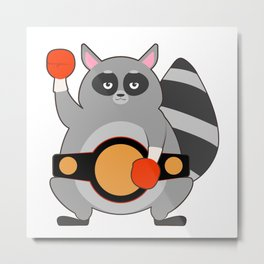 Raccoon as Boxing champ with Belt Metal Print
