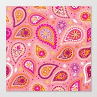 Colorful summer paisleys Canvas Print