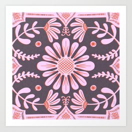 Boho Florals Pink Red Purple Art Print