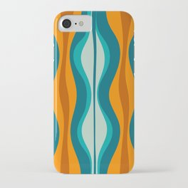 Hourglass Mid Century Modern Abstract Pattern in Turquoise, Aqua, Orange, and Rust iPhone Case