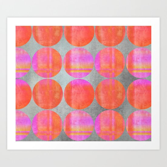 orange dots grunge mixed media modern pattern Art Print