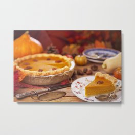 III - Homemade pumpkin pie on a rustic table with autumn decorations Metal Print