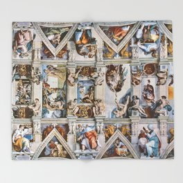 Sistine Chapel Ceiling Michelangelo Throw Blanket
