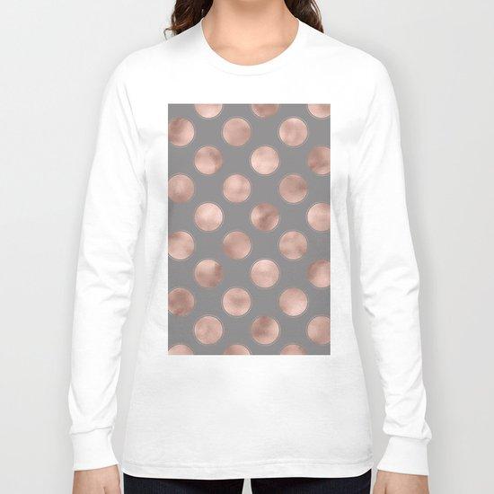 Rosegold pink metal  polkadots on grey backround  - dots Long Sleeve T-shirt