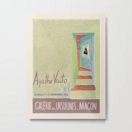 Agathe Vaïto. Exhibition poster for Galerie des Ursulines in Macon, 1973. Metal Print