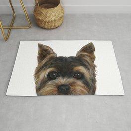 Yorkshire Terrier Mix colorDog illustration original painting print Rug