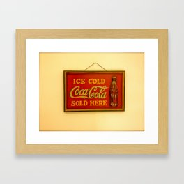 Ice Cold Coca-Cola Sold Here Framed Art Print