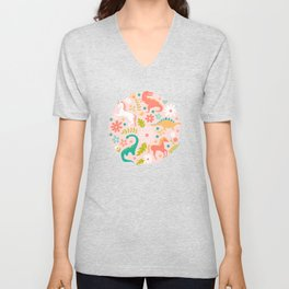 Dinosaurs + Unicorns in Pink + Teal Unisex V-Neck