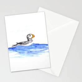 horned puffin Stationery Cards